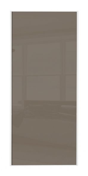 Classic Single panel, White frame/ Cappuccino glass panel door